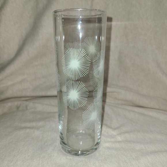 Vtg Slim Tumbler Glass, Spiro-floral Print
